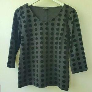 Ann Taylor Factory  Black Velvet Dot TopMP